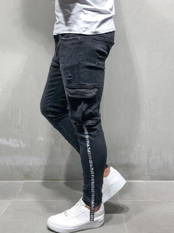 Color Block Zipper Casual Zipper Jeans