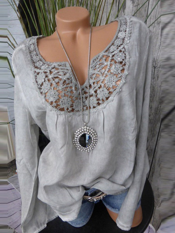 V-Neck Regular Lace Long Sleeve Mid-Length Blouse