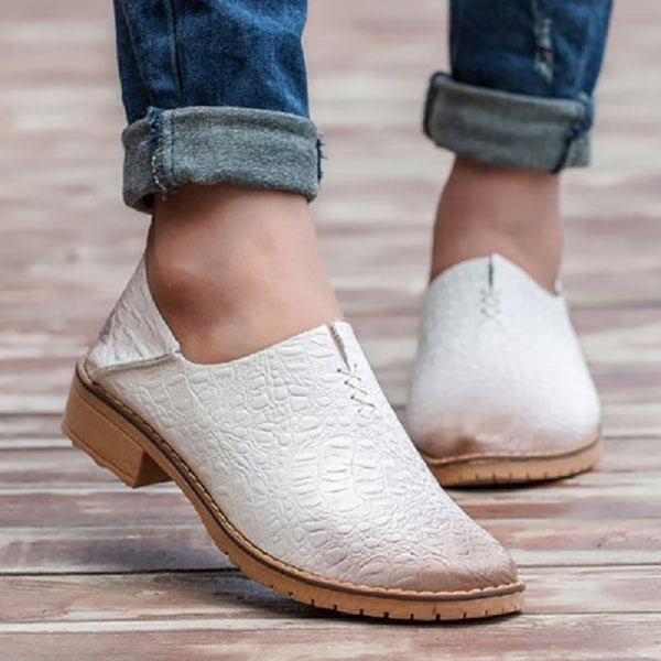 Block Heel Slip-On Round Toe Low Heel Casual Thin Shoes