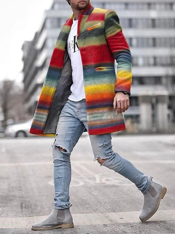 Mid-Length Color Block Single-Breasted Casual Coat