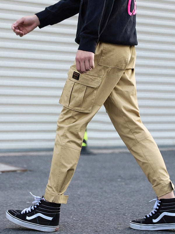 Pocket Plain Overall Four Seasons Lace-Up Casual Pants
