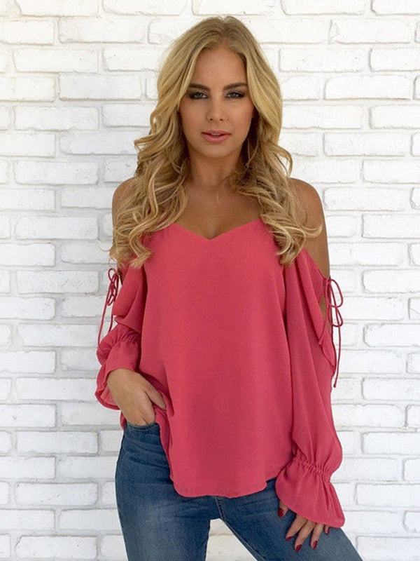 V-Neck Lace-Up Plain Long Sleeve Mid-Length Blouse