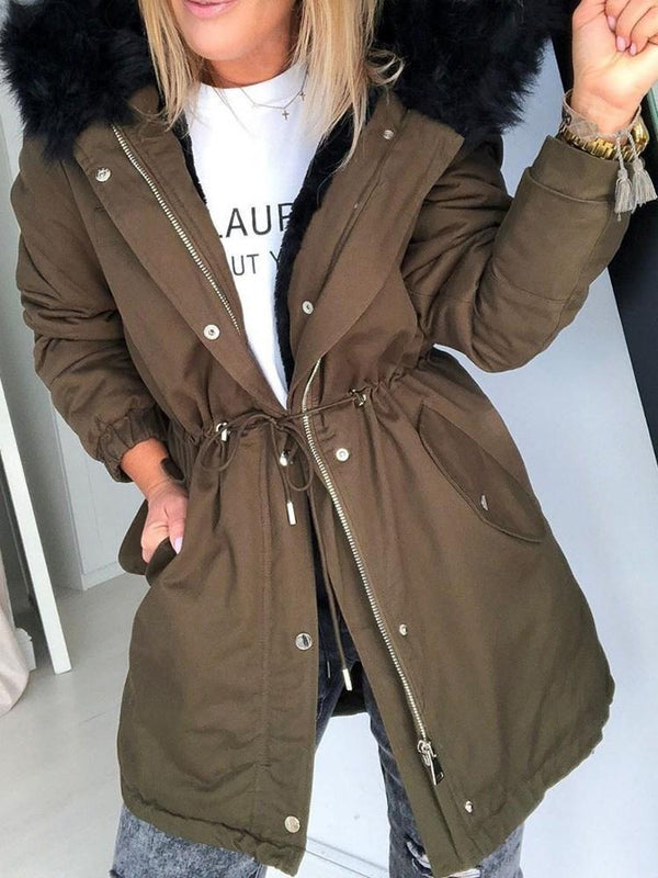 Standard Zipper Hooded Regular Loose Trench Coat