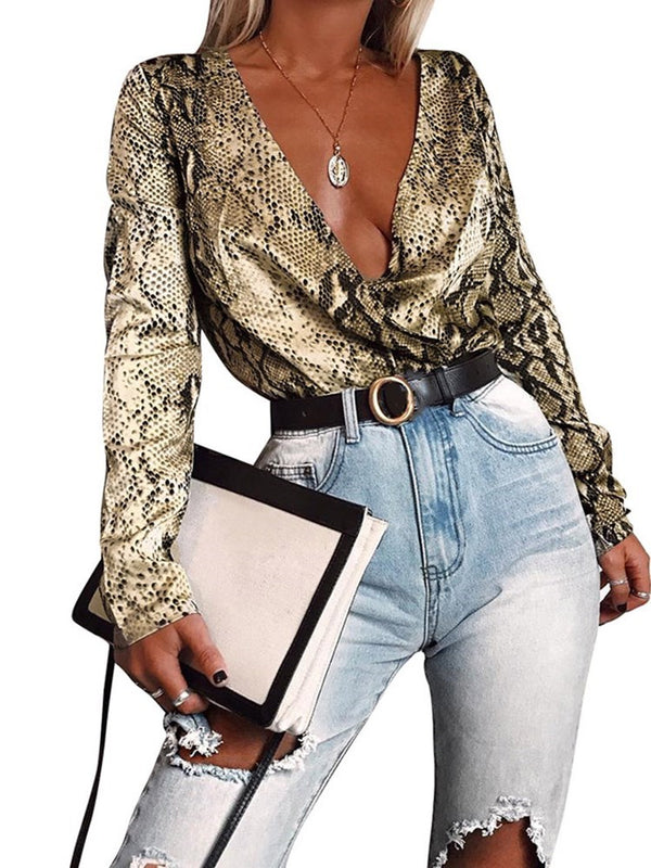 Serpentine Regular V-Neck Mid-Length Long Sleeve Blouse