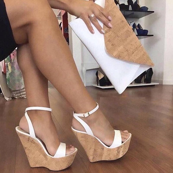 Line-Style Buckle Ankle Strap Wedge Heel Open Toe Plain Platform Sandals