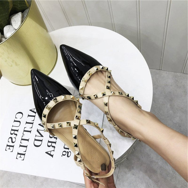 Buckle Flat With Pointed Toe Rivet Flat Heel Color Block Thin Shoes