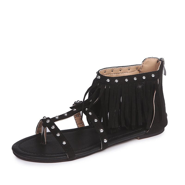Zipper Thong Heel Covering Block Heel Plain Mid-Cut Upper Sandals