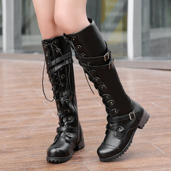 Winter Plain Block Heel Side Zipper Knee-High  Boots