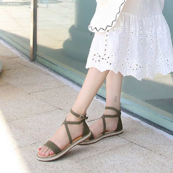 Open Toe Buckle Ankle Strap Low-Cut Upper Casual Sandals