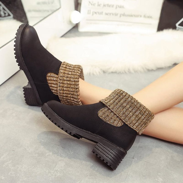 Slip-On Round Toe Patchwork Chunky Heel Woven Casual Boots