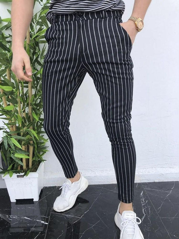 Stripe Thin Pencil Pants Fall European Casual Pants