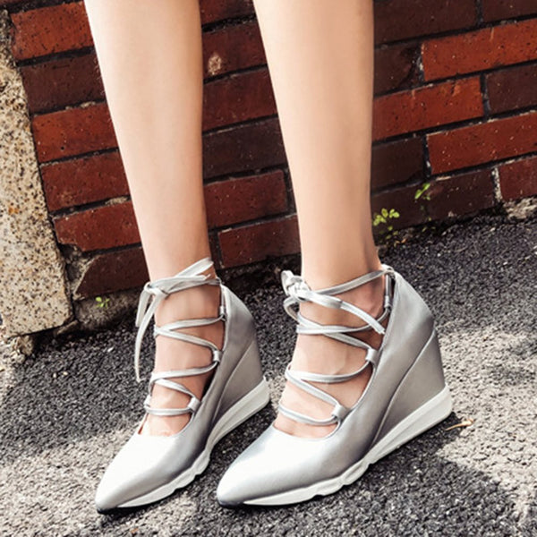 Lace-Up Wedge Heel Pointed Toe Plain 9cm Thin Shoes