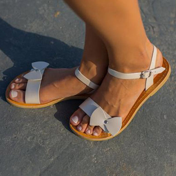 Ankle Strap Buckle Flat With Open Toe Buckle Plain Sandals