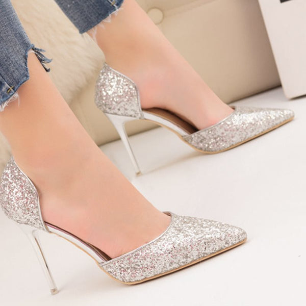 Hollow Pointed Toe Slip-On Ultra-High Heel Plain Thin Shoes