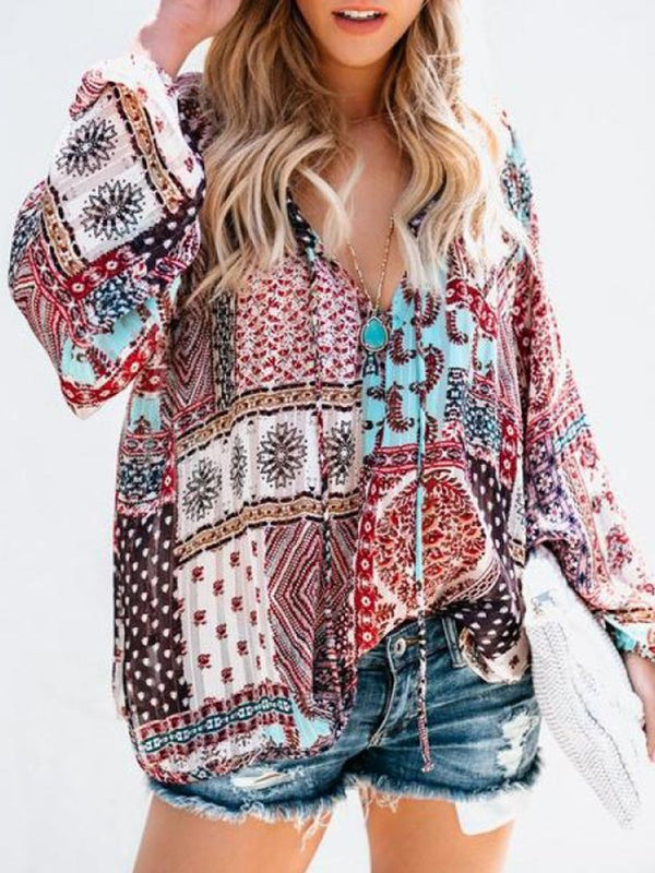 Print V-Neck Floral Long Sleeve Mid-Length Blouse