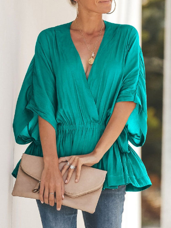 Plain V-Neck Patchwork Mid-Length Half Sleeve Blouse
