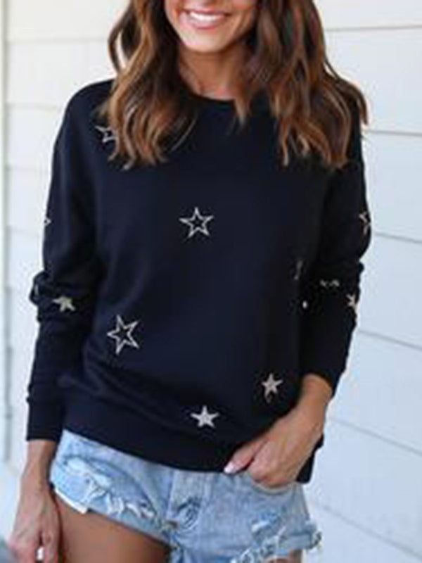 Star Regular Print Fall Long Sleeve Hoodie