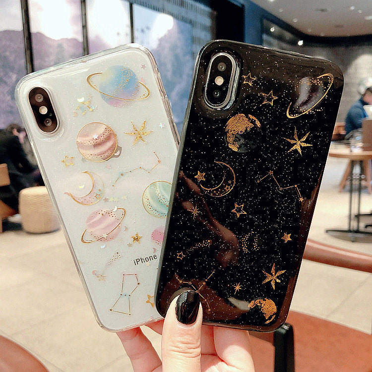 Luxury Glitter Cute Space Planet Phone Case For iPhone