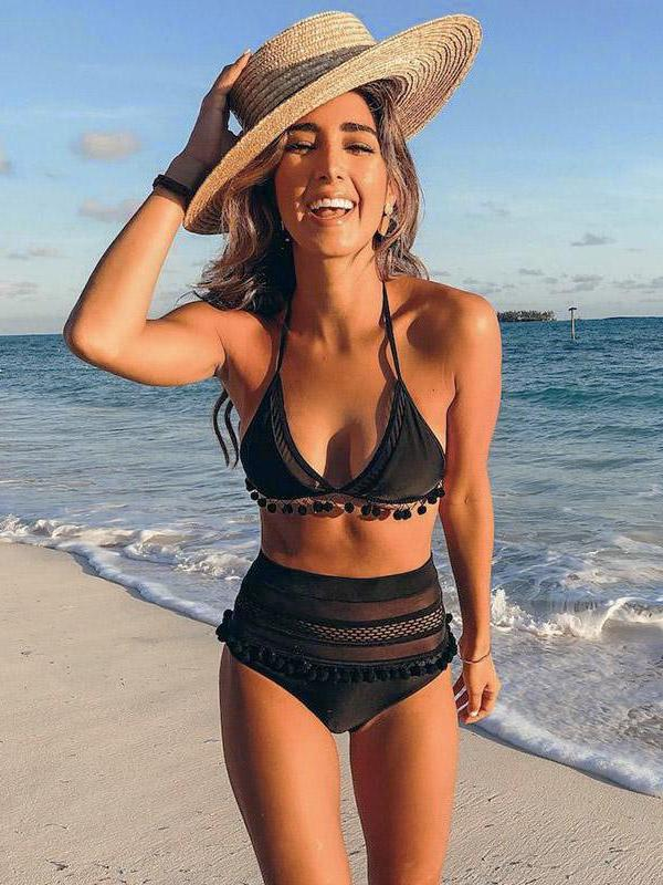 2019 Sexy Halter Retro Mesh Hollow Out String Bikini