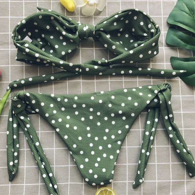 Sexy Dot Printed Bikini Set Push-Up Padded Bow Swimwear