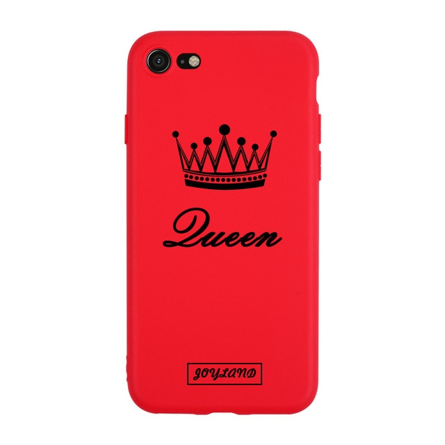 King For Queen Lovers Romantic Black White Soft TPU Slim Black Cover Phone Case For iPhone