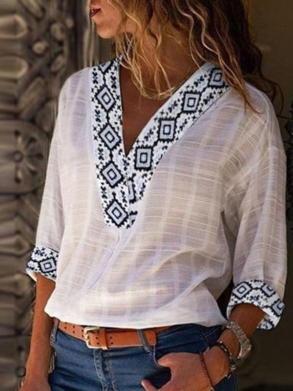 Geometric Standard Three-Quarter Sleeve Summer Loose T-Shirt