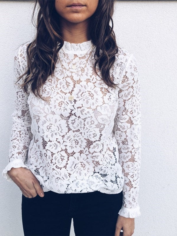 Lace Ruffled Collar Lantern Sleeve Standard Long Sleeve Blouse
