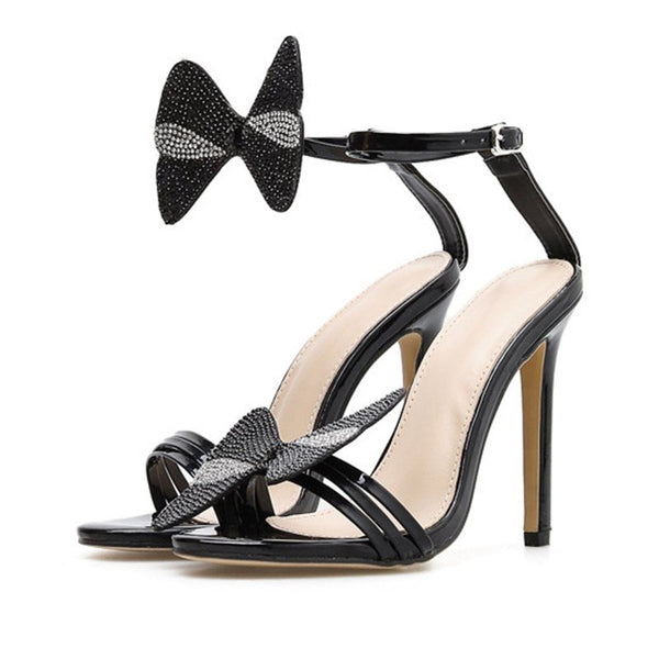 Stiletto Heel Ankle Strap Line-Style Buckle Open Toe Casual Rhinestone Sandals