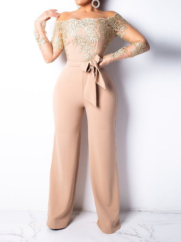 Patchwork Full Length Fashion Slim Wide Legs Jumpsuits