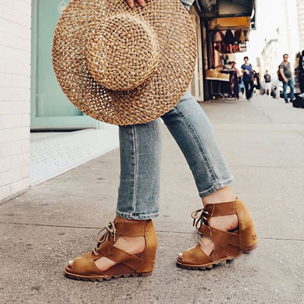 Lace-Up Peep Toe Wedge Heel Casual Western Sandals