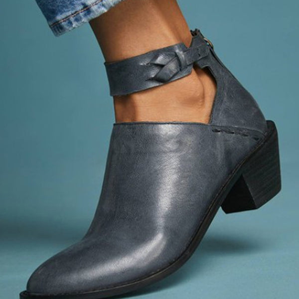 Plain Zipper Round Toe Chunky Heel Women's Ankle Boots