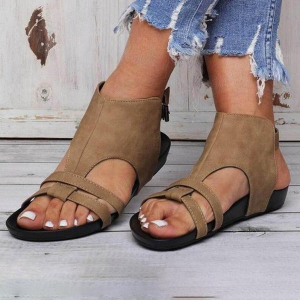 Buckle Open Toe Flat With Hollow Casual Sandals