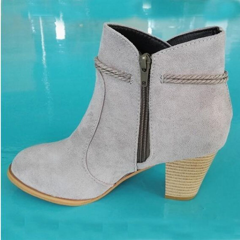 Round Toe Slip-On Chunky Heel Plain Casual Lace-Up Boots