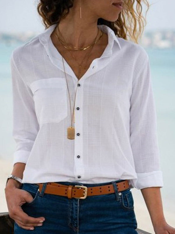 Lapel Pocket Plain Long Sleeve Standard Blouse