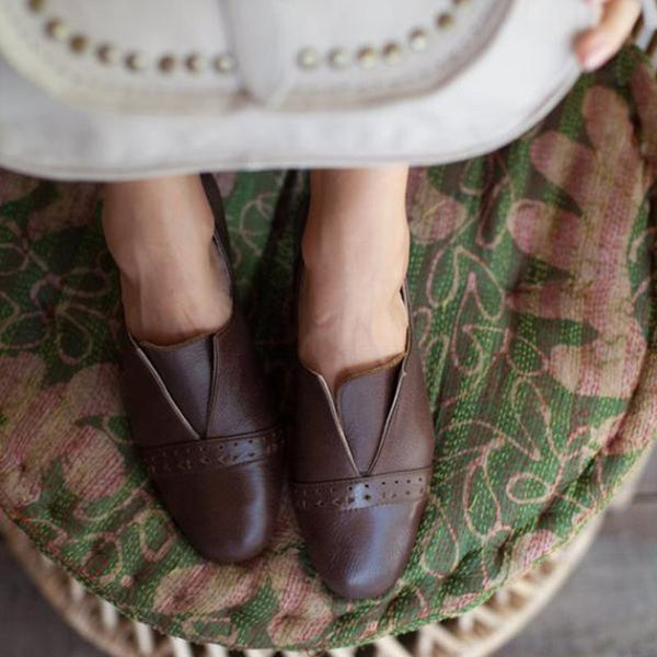 Round Toe Flat With Slip-On Low Heel Western Thin Shoes