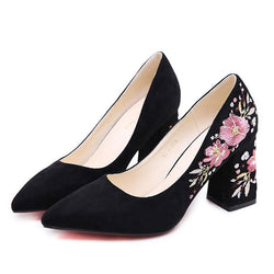 Pointed Toe Embroidery Slip-On Chunky Heel Low-Cut Upper Floral Thin Shoes