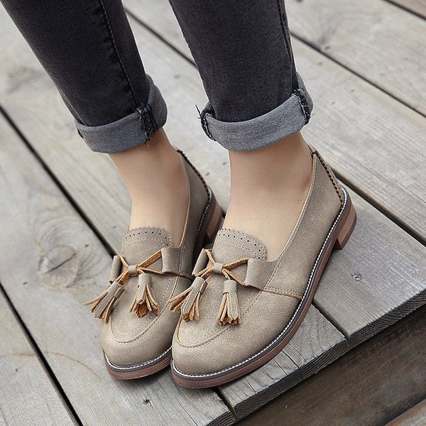 Round Toe Block Heel Fringe Slip-On Low-Cut Upper Casual Thin Shoes