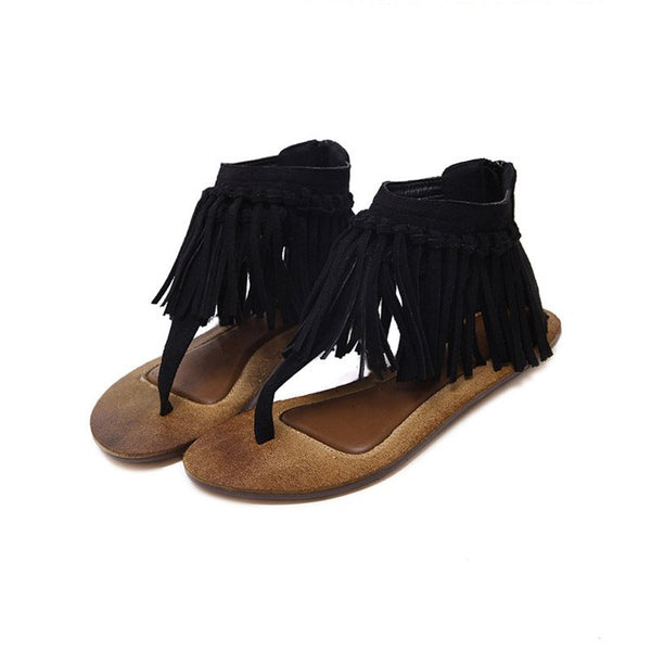 Thong Heel Covering Flat With Zipper Mid-Cut Upper Fringe Sandals