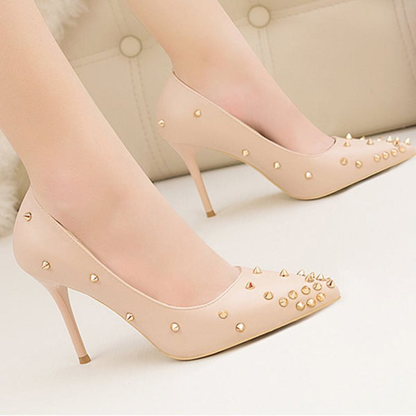 Stiletto Heel Slip-On Pointed Toe Rivet Ultra-High Heel Plain Thin Shoes