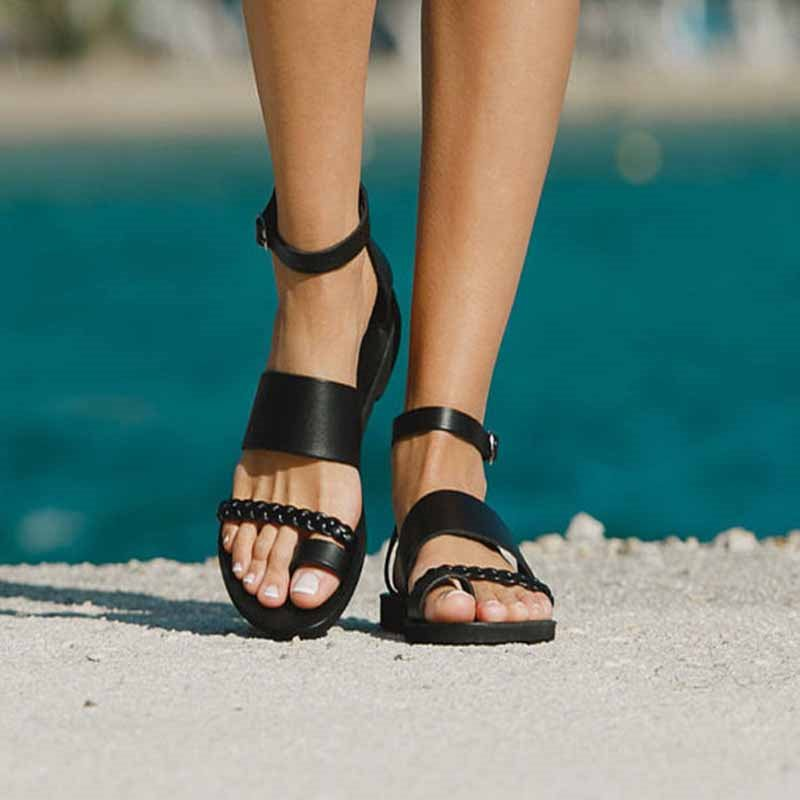 Block Heel Toe Ring Heel Covering Buckle Casual Low-Cut Upper Sandals