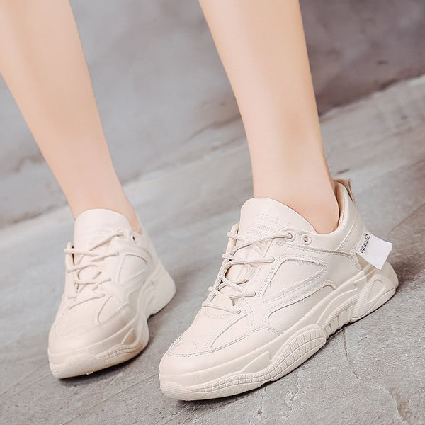 Round Toe Low-Cut Upper Lace-Up Plain Casual Sneakers