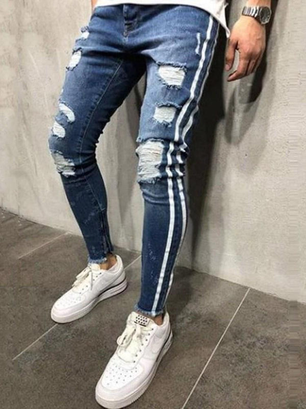 Patchwork Color Block Zipper Casual Jeans