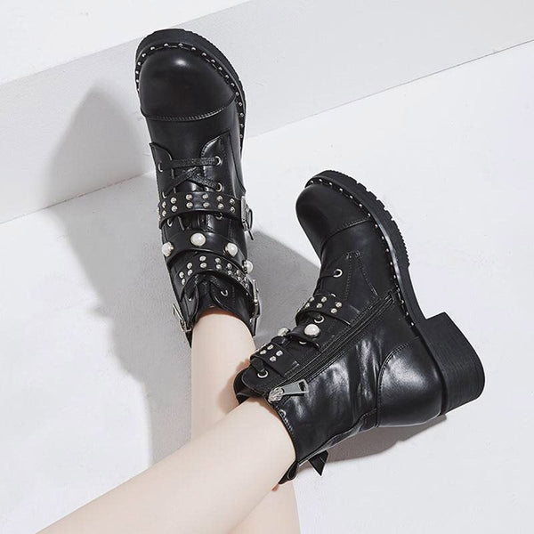 Side Zipper Block Heel Round Toe Plain Thread Casual Boots