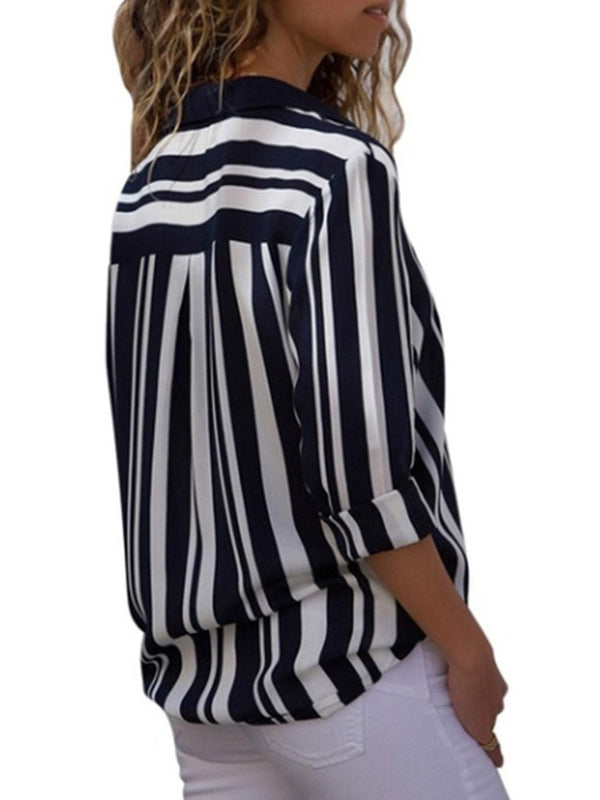 Regular Stripe Lapel Standard Long Sleeve Blouse