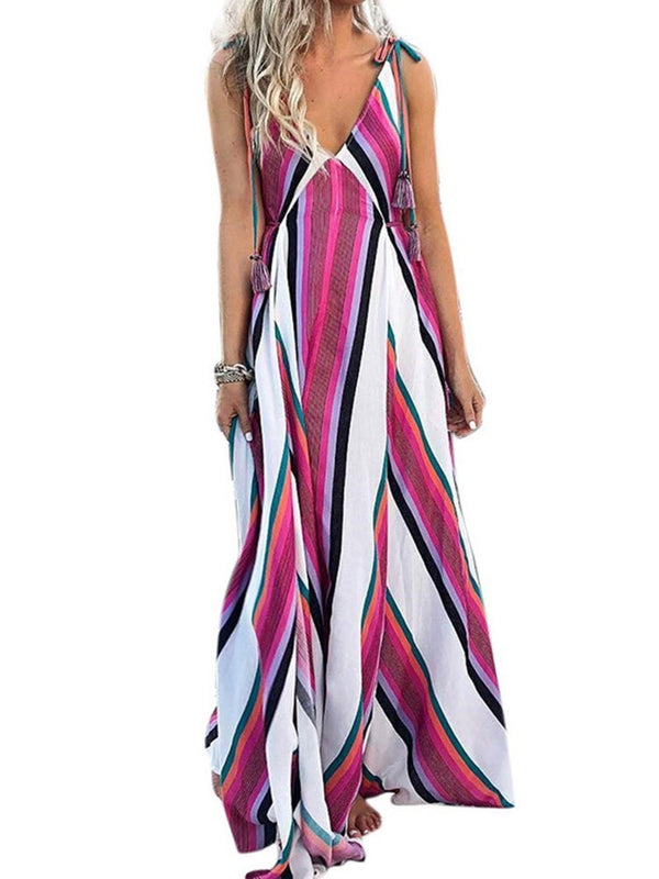 Floor-Length Patchwork Sleeveless Fashion A-Line Dress