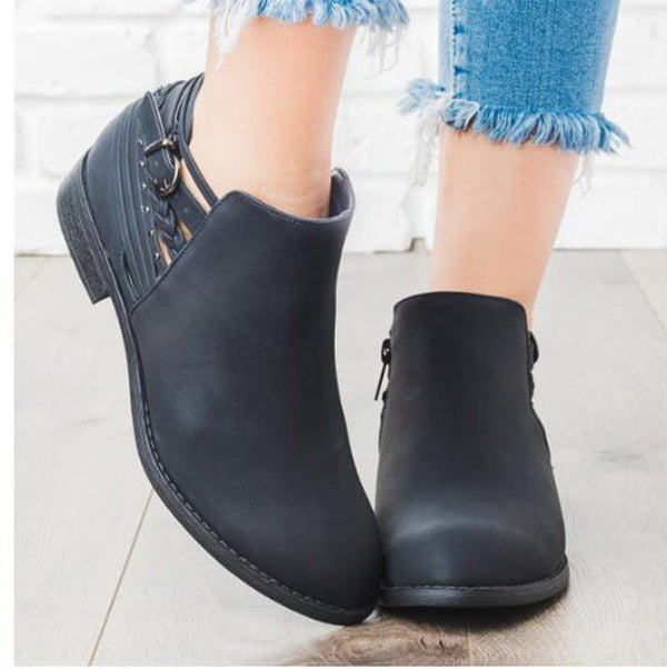 Side Zipper Block Heel Round Toe Plain Thread PU Boots