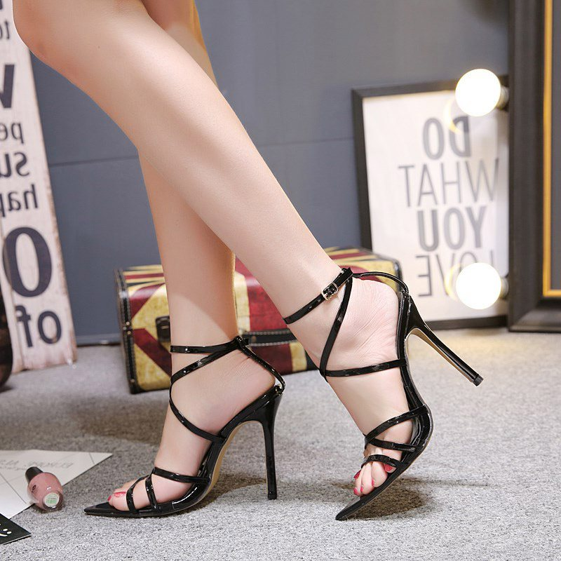 Strappy Open Toe Stiletto Heel Buckle Cross Strap Plain Sandals