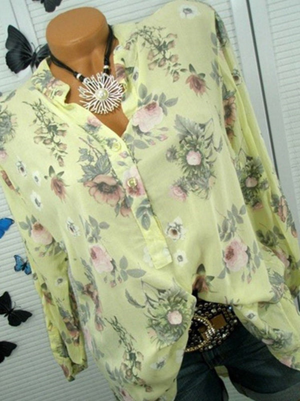 Regular Print Floral Long Sleeve Mid-Length Blouse