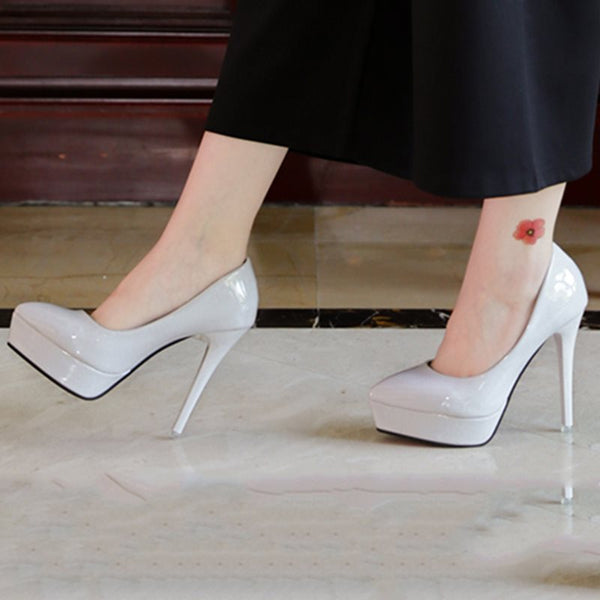 Pointed Toe Platform Slip-On Stiletto Heel Western Plain Thin Shoes