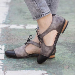 Slip-On Round Toe Hollow Patchwork Flat Heel Thin Shoes